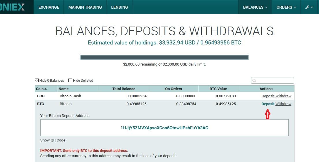 trade na poloniex - depositar bitcoin