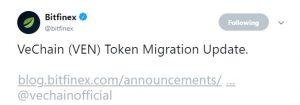 Migração de VeChain anunciada pela Bitfinex, token avança 11,88% em 24 horas