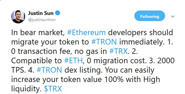 Webitcoin: Justin Sun: desenvolvedores do Ethereum devem migrar para a Tron