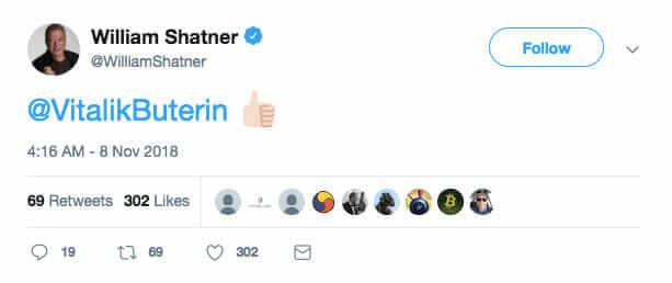 Webitcoin: William Shatner defende Vitalik Buterin no Twitter