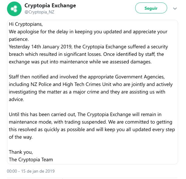 WeBitcoin: Após hack, exchange Cryptopia registra perdas significativas e fica temporariamente desativada