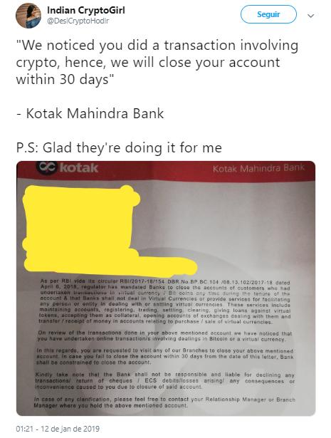 WeBitcoin: Após avisos, banco indiano encerra conta de titular por vínculo com criptomoedas