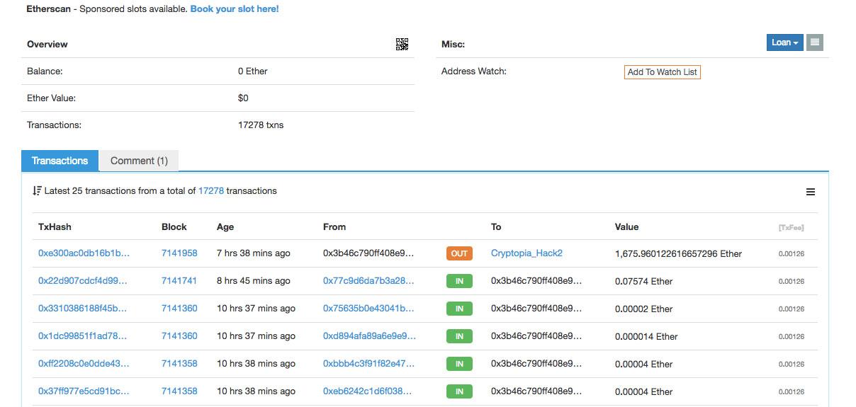 Webitcoin: De novo: Cryptopia é roubada é perde US$180 mil em ETH