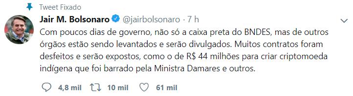 WeBitcoin: Bolsonaro critica projeto de criptomoeda indígena: Entenda o caso