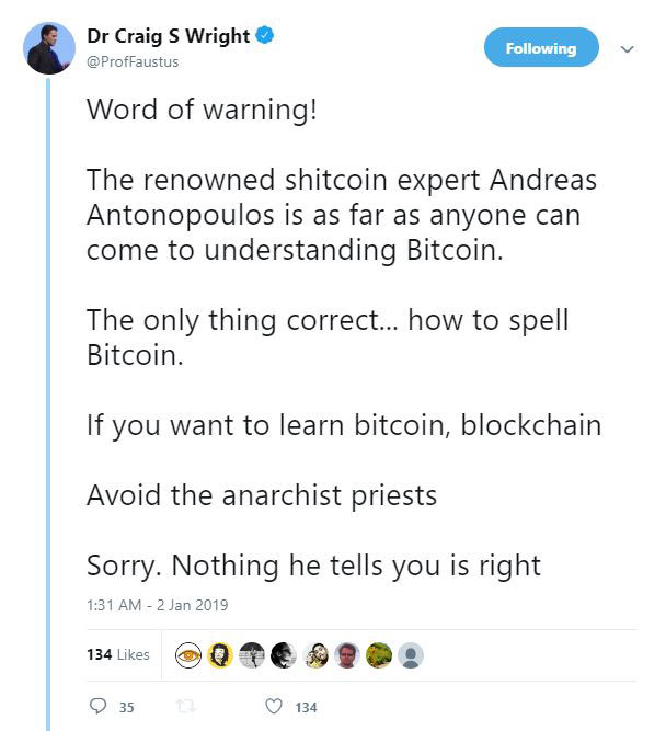 "Webitcoin: Craig Wright chama Andreas Antonopoulos de ""especialista em shitcoin"""