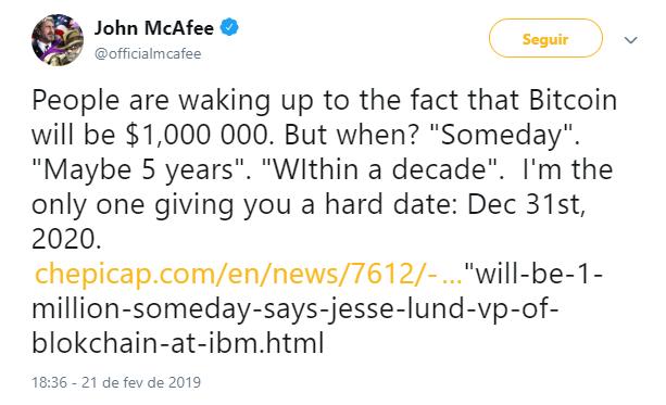 WeBitcoin: John McAfee afirma que o Bitcoin valerá US$1 milhão até o final de 2020