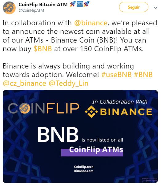 WeBitcoin: Binance Coin (BNB) agora pode ser adquirida em caixas eletrônicos da rede CoinFlip