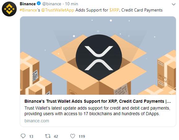 WeBitcoin: Trust Wallet da Binance adiciona suporte para Ripple (XRP) e pagamentos em cartão de crédito