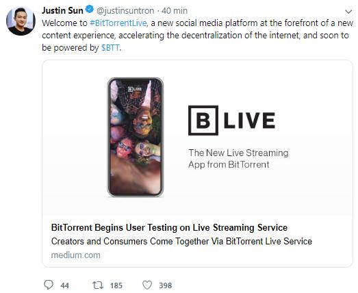 WeBitcoin: CEO da TRON anuncia nova mídia social oferecida pelo BitTorrent, o BitTorrentLive