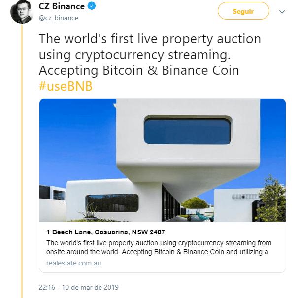 WeBitcoin: Bitcoin e Binance Coin: Primeiro leilão de imovéis ao vivo do mundo a aceitar criptomoedas será sediado na Austrália