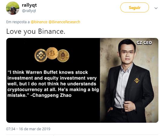 WeBitcoin: CEO da Binance: Warren Buffett não entende sobre criptomoedas e está cometendo um grande erro