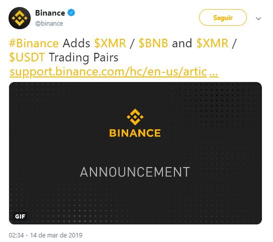 WeBitcoin: Exchange Binance adiciona novos pares de negociação com Monero (XRM)