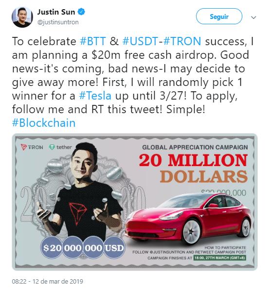 WeBitcoin: CEO da Tron irá doar carro da Tesla e US$20 milhões para comemorar sucesso do BitTorrent e do USDT TRC-20