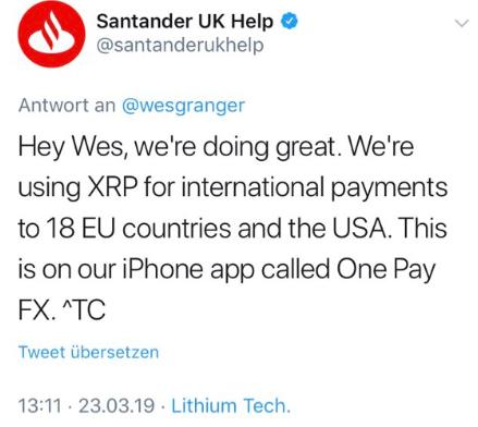 WeBitcoin: Mas afinal, o Santander está ou não está utilizando XRP em pagamentos internacionais?