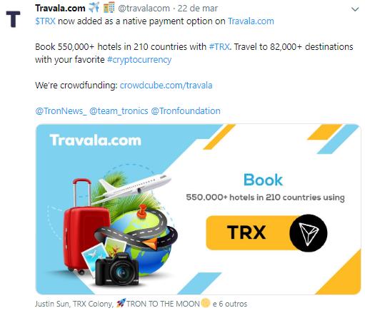 WeBitcoin: Travala.com: Plataforma de viagens movida a Blockchain passa a aceitar pagamento em TRON (TRX)