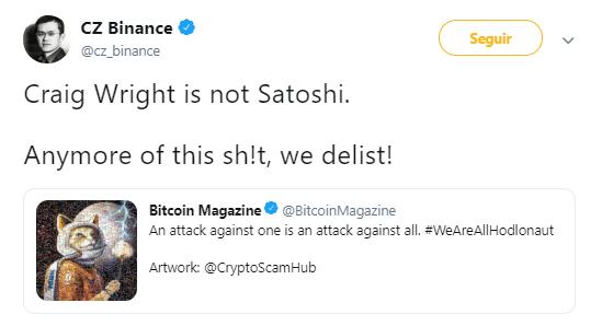 WeBitcoin: Após situação com Craig Wrught, CEO da Binance ameaça deslistar Bitcoin SV