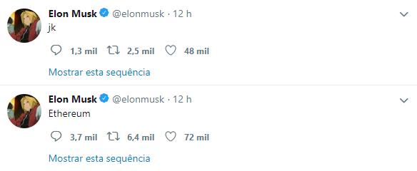WeBitcoin: Em provocação à SEC, tweet de Elon Musk causa a valorização do Ethereum