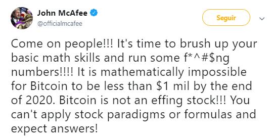 """WeBitcoin: John McAfee afirma que é """"matematicamente impossível"""" que o Bitcoin não atinja US$1 milhão até 2021"""
