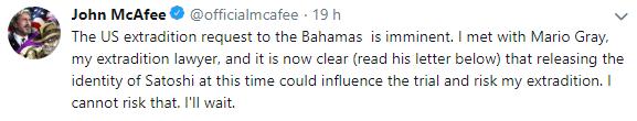 WeBitcoin: John McAfee desiste temporariamente de revelar a identidade de Satoshi Nakamoto para não comprometer seu pedido de extradição