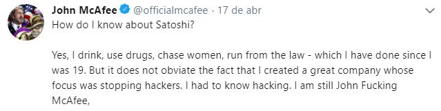 """WeBitcoin: John McAfee revela como """"descobriu"""" identidade de Satoshi Nakamoto"""