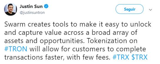 WeBitcoin: Provedores de ativos poderão emitir security tokens no blockchain da TRON por meio da infraestrutura Swarm