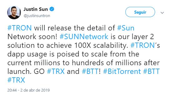 WeBitcoin: Justin Sun anuncia novo projeto que irá potencializar a escalabilidade dos dApps da TRON