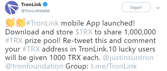 WeBitcoin: TRON lança oficialmente o aplicativo de carteira TronLink