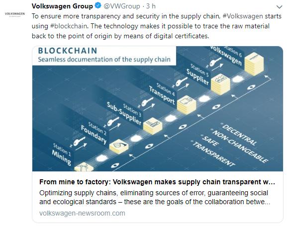 WeBitcoin: Volkswagen anuncia que irá utilizar a tecnologia blockchain para monitorar cadeia de suprimentos