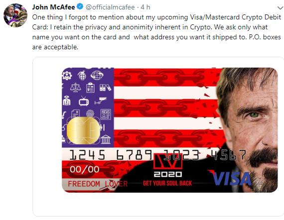 """WeBitcoin: Cartão de débito de Bitcoin de John McAfee será """"anônimo como o mercado"""""""