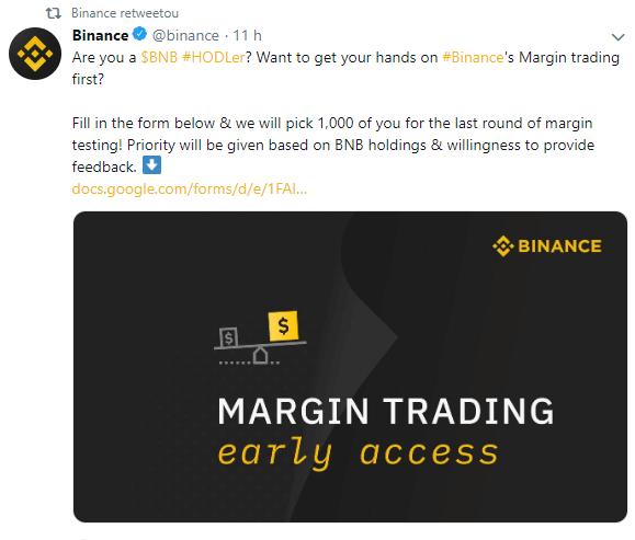 WeBitcoin: Binance convida investidores para última rodada de testes antes de lançar margin trading
