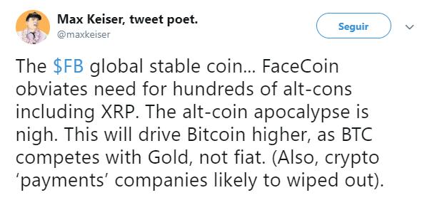 WeBitcoin: A criptomoeda do Facebook será o apocalipse das altcoins, diz especialista
