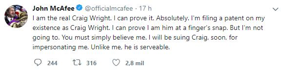 WeBitcoin: Em tweet provocativo, John McAfee brinca que irá processar Craig Wright