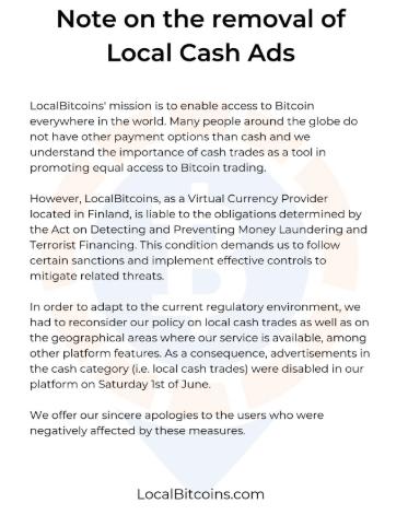 """WeBitcoin: """"O fim de uma era"""": LocalBitcoins confirma banimento de negociações cash-to-cripto"""
