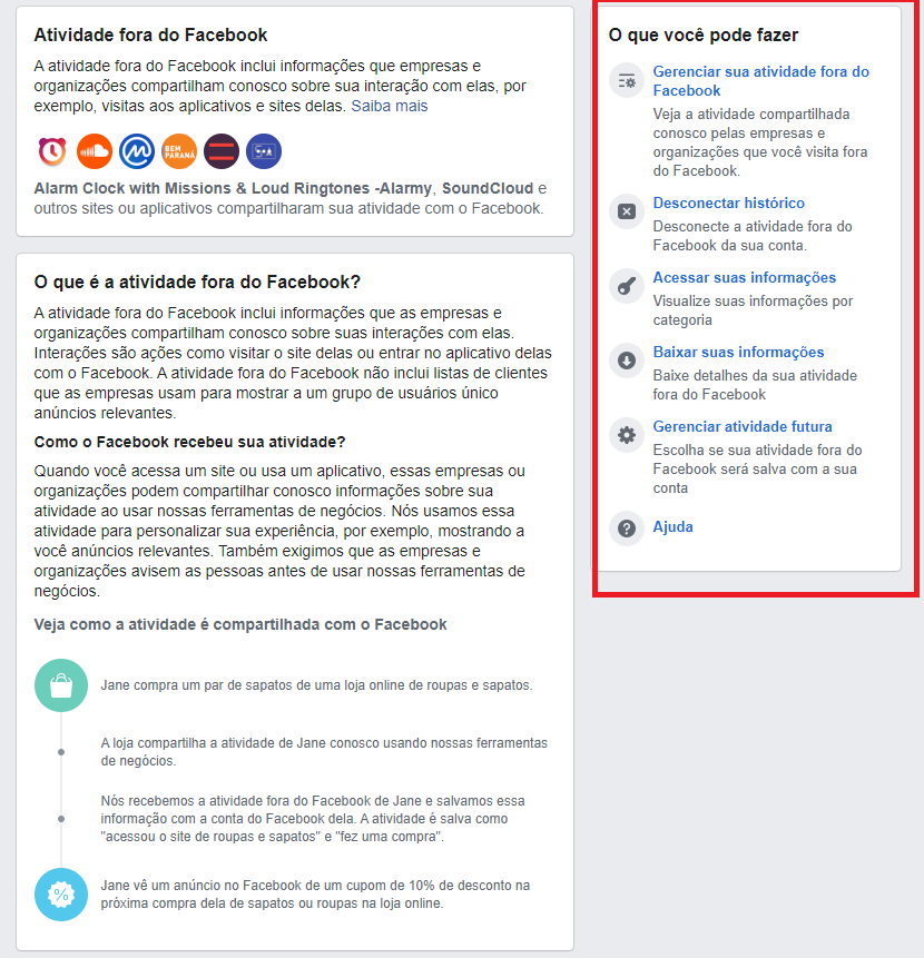 Limpar histórico Facebook