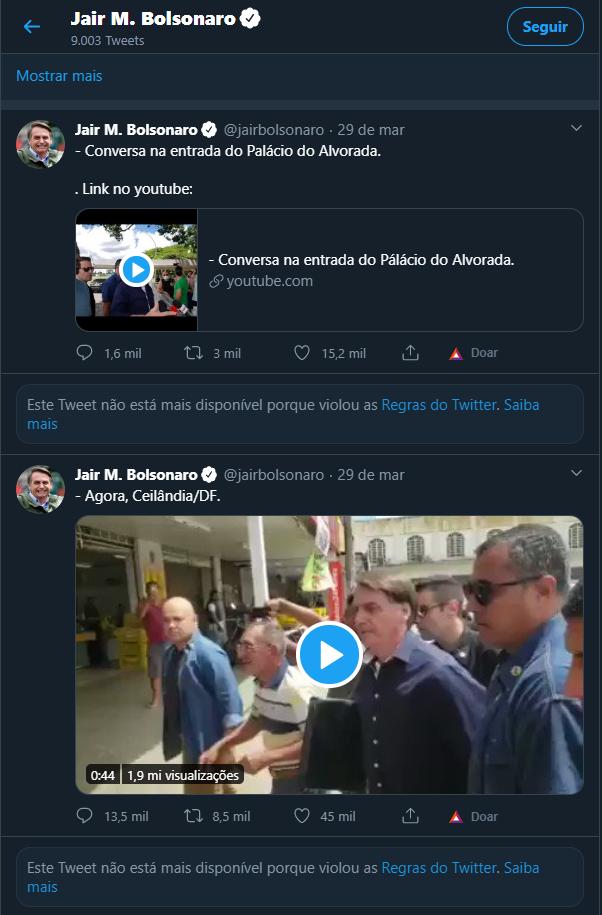 twitter bolsonaro vídeos excluídos